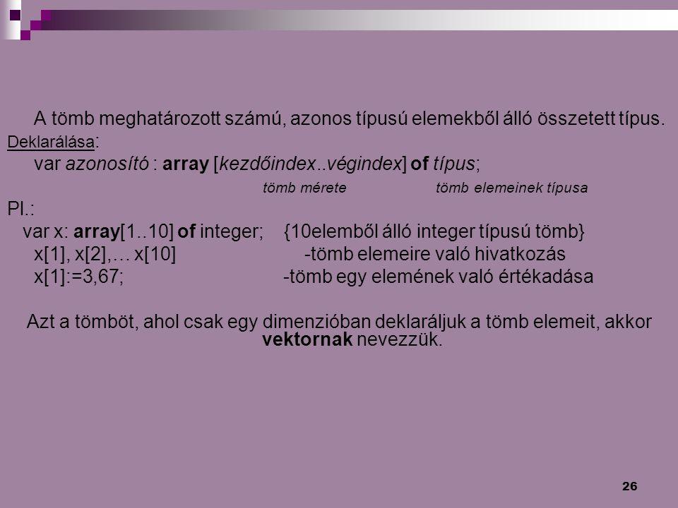 var azonosító : array [kezdőindex..végindex] of típus;